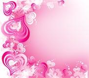 Het wit-rozeachtergrond van de Dag van valentijnskaarten met Harten stock illustratie