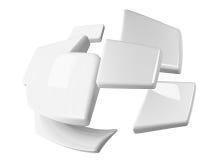 Het wit spherified geïsoleerder rechthoeken Stock Fotografie