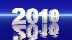 het wit van 2010 op diepe blauwe overzees vector illustratie