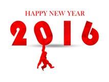 Het wit 2016 van de illustratiesneeuw op lichte heldere witte achtergrond schaduwen Gelukkig nieuw van het bedrijfs jaarontwerp c Stock Foto
