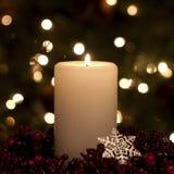 Het Wit van de Kaars van Kerstmis Stock Fotografie
