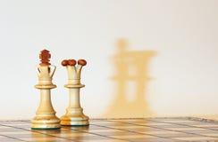 Het wit van de koning en van de koningin met schaduwen Royalty-vrije Stock Fotografie