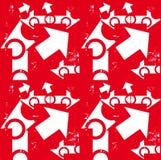 Het wit van de pijl & grunge op rood naadloos patroon Stock Foto's