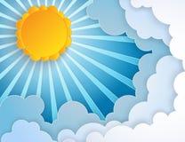 Het Witboek sneed wolken en zon met stralen in de blauwe hemel royalty-vrije illustratie