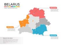 Het Witrussische vectormalplaatje van kaartinfographics met gebieden en wijzertekens stock illustratie