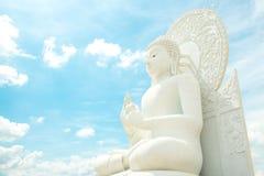 Het Witte beeld van Boedha Stock Foto's