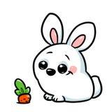Het witte beeldverhaal van de konijnwortel Stock Foto