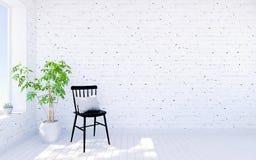 Het witte binnenland van de baksteen moderne woonkamer met leefruimte Royalty-vrije Stock Foto's