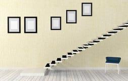 Het witte binnenland van de trapruimte in moderne en minimale stijl Stock Afbeelding
