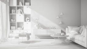 Het witte Binnenlandse Ontwerp 3D teruggeven Stock Foto