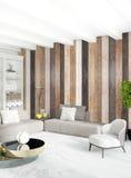 Het witte Binnenlandse ontwerp van de slaapkamer minimale stijl met houten muur het 3d teruggeven 3D Illustratie Stock Afbeeldingen