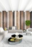 Het witte Binnenlandse ontwerp van de slaapkamer minimale stijl met houten muur het 3d teruggeven 3D Illustratie Royalty-vrije Stock Fotografie