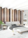 Het witte Binnenlandse ontwerp van de slaapkamer minimale stijl met houten muur het 3d teruggeven 3D Illustratie Stock Fotografie
