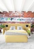 Het witte Binnenlandse ontwerp van de slaapkamer minimale stijl met houten muur en grijze bank het 3d teruggeven 3D Illustratie Stock Fotografie