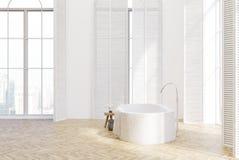 Het witte binnenlandse, zijaanzicht van de luxebadkamers stock illustratie