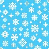 Het witte blauwe naadloze vectorpatroon van de de wintersneeuwvlok stock afbeelding
