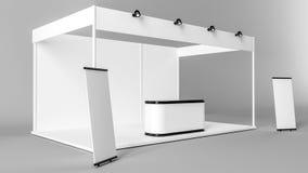 Het witte creatieve ontwerp van de tentoonstellingstribune Cabinemalplaatje Corporat Royalty-vrije Stock Foto