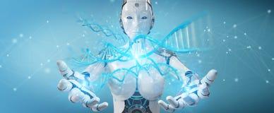 Het witte 3D teruggeven van DNA van het vrouwen cyborg aftasten menselijke Royalty-vrije Stock Fotografie
