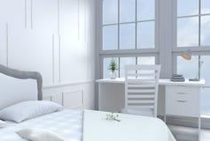 Het witte decor van de bedruimte met bureau en groot bed in gelukkige dag Stock Foto's