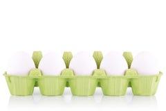 Het witte die ei van het symboolconcept in doos wordt geïsoleerd Royalty-vrije Stock Fotografie