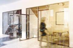 Het witte en beige dubbel van de bureauvergaderzaal Stock Afbeelding