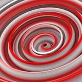 Het witte en rode verdraaide hypnotic vorm abstracte 3D teruggeven Stock Fotografie
