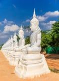 Het witte engelenstandbeeld of beeldhouwwerk van Boedha Stock Foto's