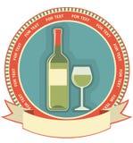 Het witte etiket van de wijnfles Stock Afbeeldingen