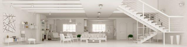 Het witte flat binnenlandse panorama 3d teruggeven vector illustratie