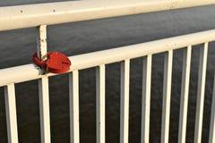 Het witte geschilderde traliewerk van de dijk van de rivier Met een rood slot in de vorm van een hart, opgezet op een metaalpijp royalty-vrije stock foto