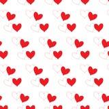 Het witte hart met rode overzichtscontour en het rood vullen hart die gedeeltelijk in een wit transparant naadloos patroon overla stock illustratie
