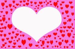 Het witte Hart van de Valentijnskaart Stock Foto's