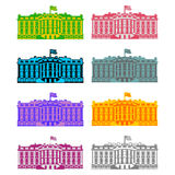 Het Witte Huis Amerika kleurde pictogramreeks Woonplaats van President USA Stock Foto