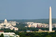 Het Witte Huis van Washington D C luchtmening met het Capitool en Washington Monument van de V.S. in mening Stock Foto