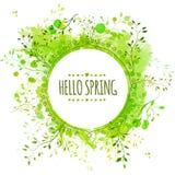Het witte kader van de krabbelcirkel met de tekst hello lente De groene achtergrond van de verfplons met bladeren Vers vectorontw Stock Foto