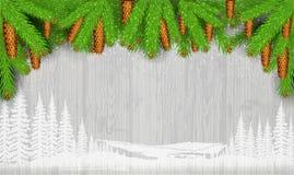 Het witte landschapssilhouet op uitstekende grijze houten achtergrond en de spar vertakken zich en kegels Stock Foto