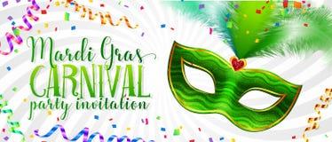 Het witte Mardi Gras-malplaatje van de uitnodigingskaart met groen Carnaval-masker met veren royalty-vrije illustratie