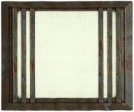 Het witte met de hand gemaakte canvasmetaal versperde geïsoleerde frame stock fotografie