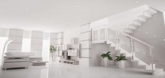 Het witte moderne 3d flat binnenlandse panorama geeft terug Stock Foto's