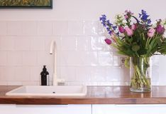 Het witte moderne binnenlandse ontwerp van de keukengootsteen Stock Foto's