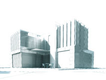 Het witte moderne de bouw teruggeven Stock Fotografie