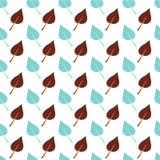 Het witte Naadloze Patroon met Bruin en Lichtblauw doorbladert Royalty-vrije Stock Afbeeldingen