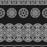 Het witte naadloze patroon van de lijn etnische stammengrens Stock Illustratie
