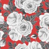 Het witte naadloze patroon van de rozenwaterverf Royalty-vrije Stock Foto's