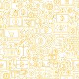 Het Witte Naadloze Patroon van lijnbitcoin Stock Afbeelding