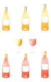 Het witte Pak van Wijnflessen stock foto's