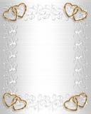 Het Witte Satijn van de Grens van de Uitnodiging van het huwelijk stock illustratie