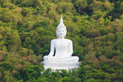 Het witte Standbeeld van Boedha in Mountian, Thailand Royalty-vrije Stock Afbeeldingen