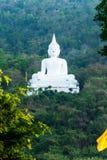 Het witte standbeeld van Boedha op de berg Stock Foto
