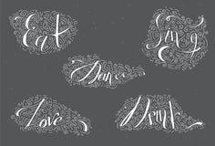 Het witte van letters voorzien met woordendans, Drank, eet, houdt van, zingt Verfraaid met hand getrokken lijnen, wervelingen en  Royalty-vrije Stock Foto's